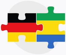 Germany and Gabon Flags - stock illustration