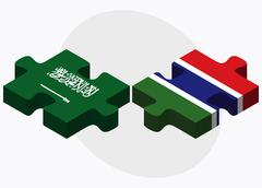Saudi Arabia and Gambia Flags - stock illustration