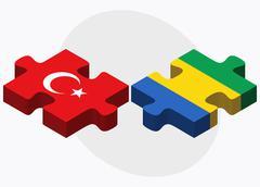 Turkey and Gabon Flags - stock illustration