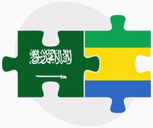 Stock Illustration of Saudi Arabia and Gabon Flags