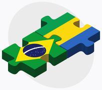 Brazil and Gabon Flags - stock illustration