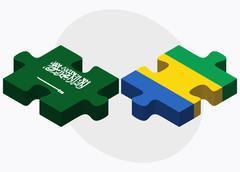 Saudi Arabia and Gabon Flags - stock illustration