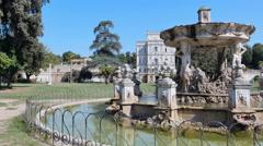 Jogging around a fountain,Villa Doria Pamphilj rome Stock Footage