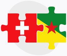 Switzerland and French Guiana Flags Stock Illustration
