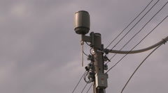 Stock Video Footage of Toronto urban public WiFi transmitter on light post downtown