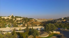JERUSALEM, ISRAEL - Smooth aerial panning view of the OLD CITY WALLS Stock Footage