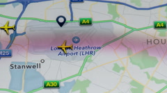 Crowd of airplanes flight, landing and take off above London Heathrow airport 4K Stock Footage