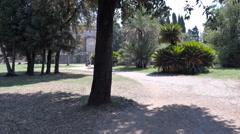 Jogging in the park, Villa Doria Pamphilj, rome Stock Footage