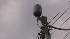 Toronto urban public WiFi transmitter on light post downtown - stock footage