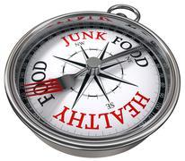 Healthy versus junk food concept compass Stock Illustration