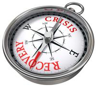 crisis vs recovery concept compass - stock illustration