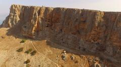 MT ARBEL, ISRAEL - Beautiful 4K aerial view of the peak and zealots caves Stock Footage