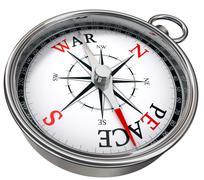 peace versus war concept compass - stock illustration