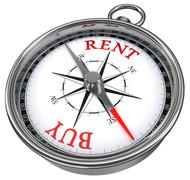 Buy versus rent concept compass Stock Illustration