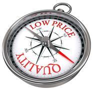 Quality versus low price concept compass Stock Illustration