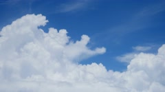 Clouds from Airplane big storm cumulus forming white blue sky 4k UHD - stock footage