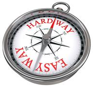 easy versus hard way dilemma concept compass - stock illustration