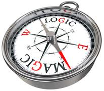 Logic vs magic concept compass Stock Illustration