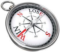 win lose concept compass - stock illustration