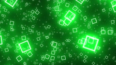 Flying Squares Green Abstract Psychedelic VJ Background Loop Rotate Left Stock Footage