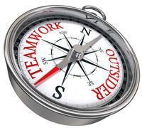 Teamwork vs outsider concept compass Stock Illustration