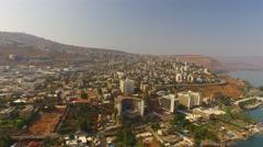 Beautiful Aerial View of TIBERIAS, ISRAEL in 4k Stock Footage