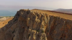 MT ARBEL, ISRAEL - Beautiful 4K aerial view of the peak and zealots caves Stock Footage