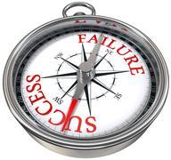 success versus failure concept compass - stock illustration