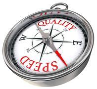 Quality versus speed concept compass Stock Illustration