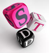 STD (Sexually transmitted diseases) sign on pink, white and black box cubes Stock Illustration