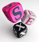 Stock Illustration of sex word on pink black box cubes