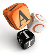 act word on orange black dice blocks - stock illustration