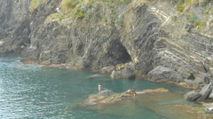 Taking a bath in the Ligurian Sea, Cinque Terre Stock Footage