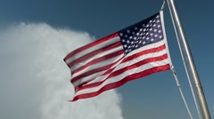 American flag against white water - slow motion Stock Footage