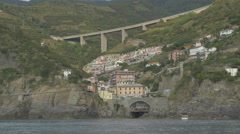 The Provincial road of Cinque Terre in Riomaggiore Stock Footage