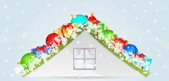 Roof with many christmas objects Stock Illustration