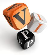 VIP Very Important Person orange black dice blocks - stock illustration