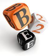 B2e orange black dice blocks Stock Illustration