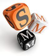 Smm orange black dice blocks Stock Illustration