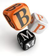 Bpm orange black dice blocks Stock Illustration