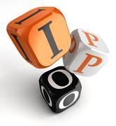 ipo orange black dice blocks - stock illustration