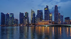 Night Singapore Skyline Stock Footage