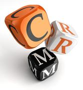 Crm orange black dice blocks Stock Illustration