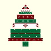 Holiday box in the shape of a Christmas tree - stock illustration
