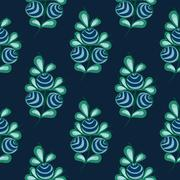 Blue berries seamless pattern stock natural background - stock illustration