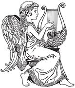 girl angel playing lyre black and white - stock illustration