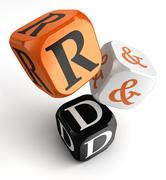 Stock Illustration of r&d orange black dice blocks