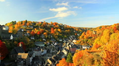 View of the small German town Monschau. - stock footage