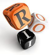 Roi orange black dice blocks Stock Illustration