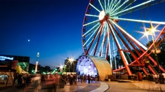 Time lapse of ferris wheel at night Stock Footage